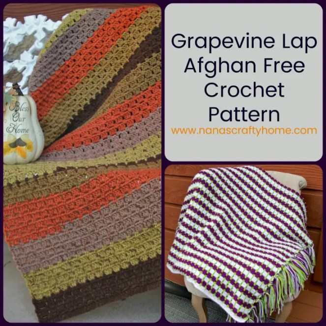 Grapevine Crochet Lap Afghan Free Pattern with Block Stitch and Fringe
