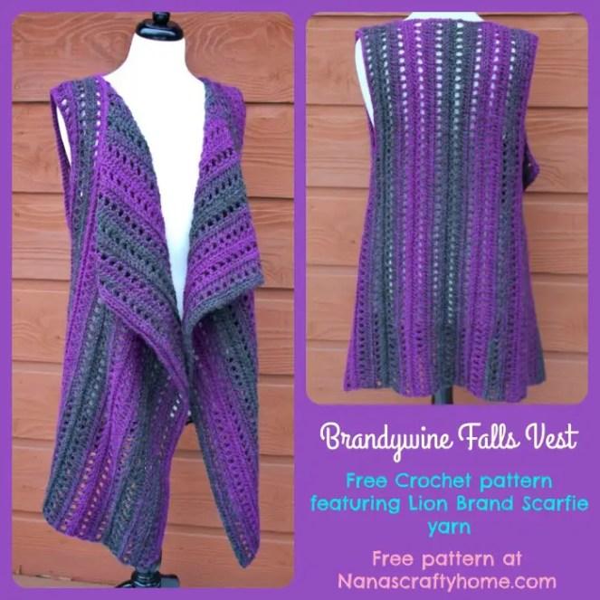 Brandywine Falls Vest Free Crochet Pattern With Lion Brand Scarfie