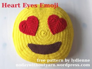 Heart Eyes Emoji Pillow by No Day Without Yarn!