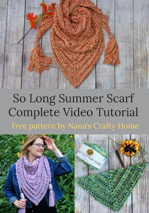 So Long Summer Scarf free pattern video tutorial