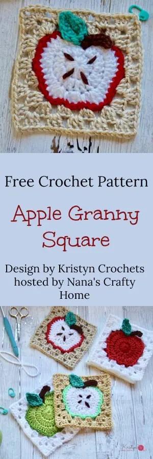 Apple Granny Square a free crochet pattern