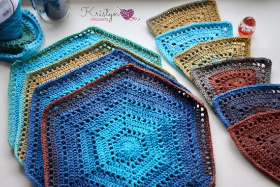 Hexagon Medley Wrap a free crochet pattern