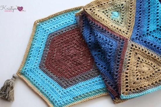 Hexagon Medley Crochet Wrap a free pattern