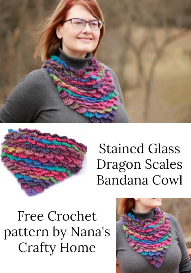 Stained Glass Dragon Scales Bandana Cowl a free crochet pattern