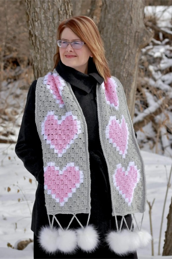 Heart C2c Scarf Free Crochet Pattern Nanas Crafty Home