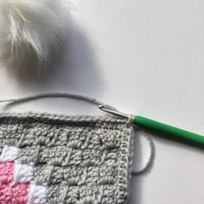 Heart C2C Scarf free crochet pattern process pom pom 1