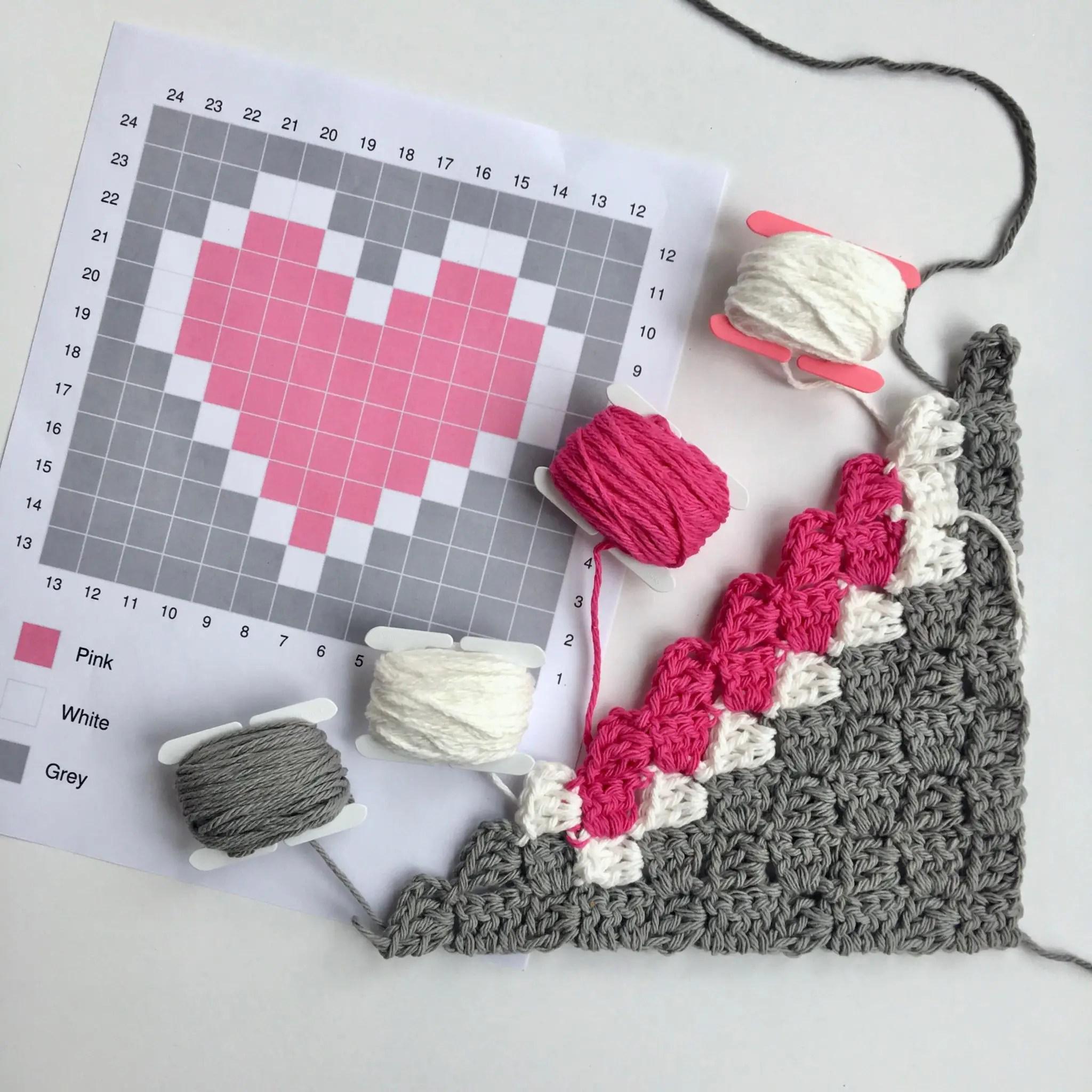 Corner To Corner C2c Basics How To Change Colors Heart Dishcloth