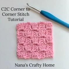 C2C Corner to Corner Crochet Photo and Video Tutorial