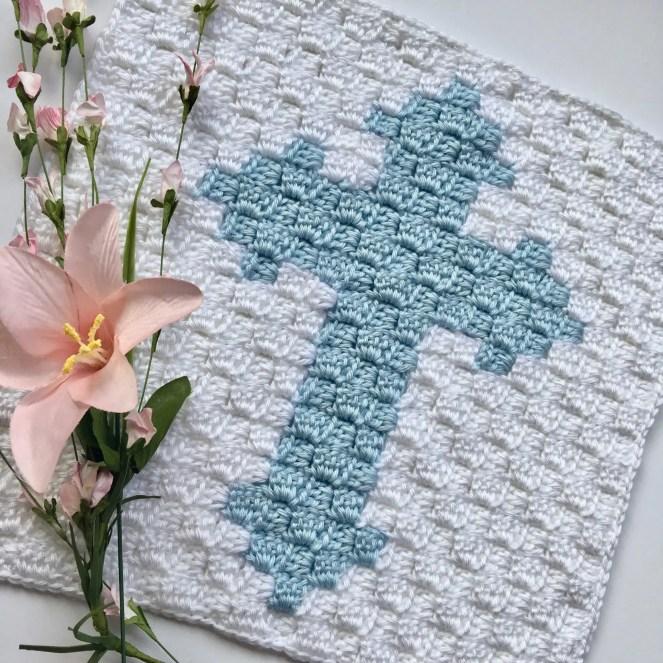 Cross C2C Square Easter Blanket Graphgan Crochet a Long