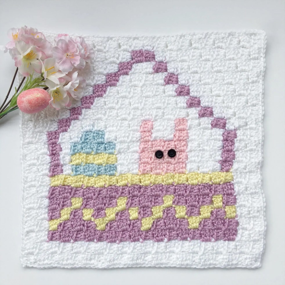Easter Basket C2C Square Blanket Graphgan Crochet a Long (CAL) Part 3
