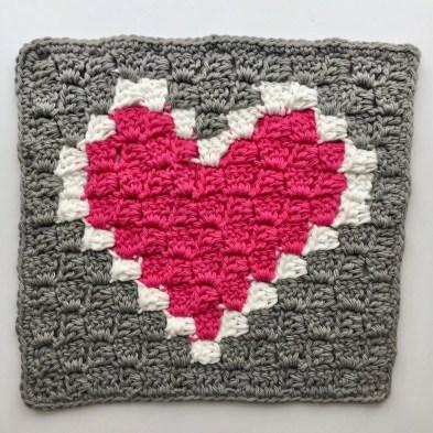 Heart C2C Dishcloth free crochet pattern