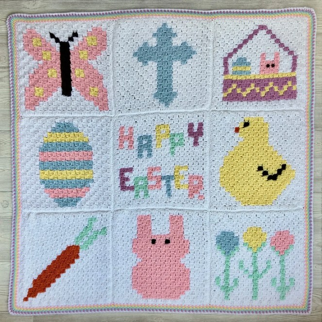 Easter C2C Blanket CAL Part 10 Joining & Border instructions