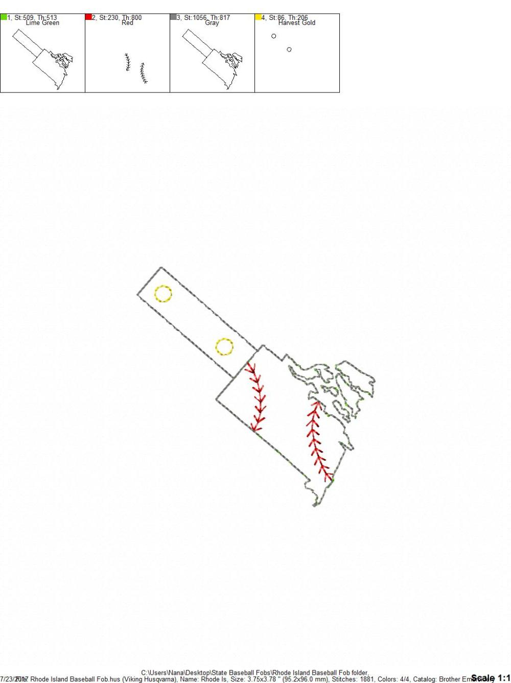 medium resolution of rhode island baseball softball outline fob in the hoop snap rivet key fob digital embroidery design