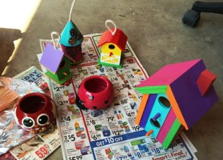 bird houses sprayed