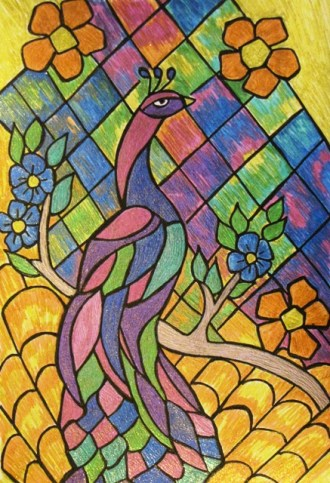 stained-glass-peacock