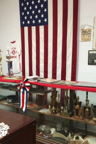 flag and trophies