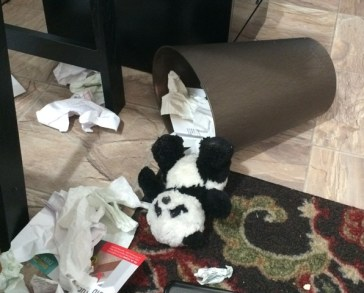panda and wastebasket