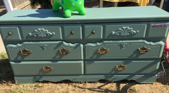 blue dresser at yard sale