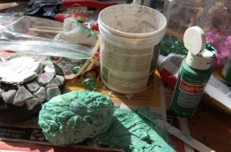 green paint and grout