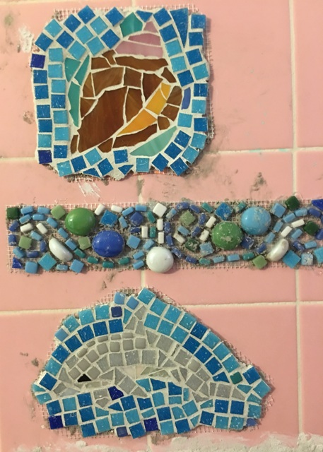 shell and dolphin with grout