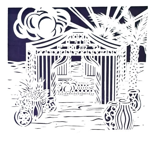 Abraham's Tent laser cut with blessing for the home