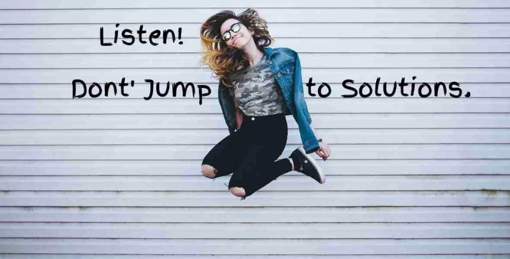 lady jumping text reads don't jump to solutions