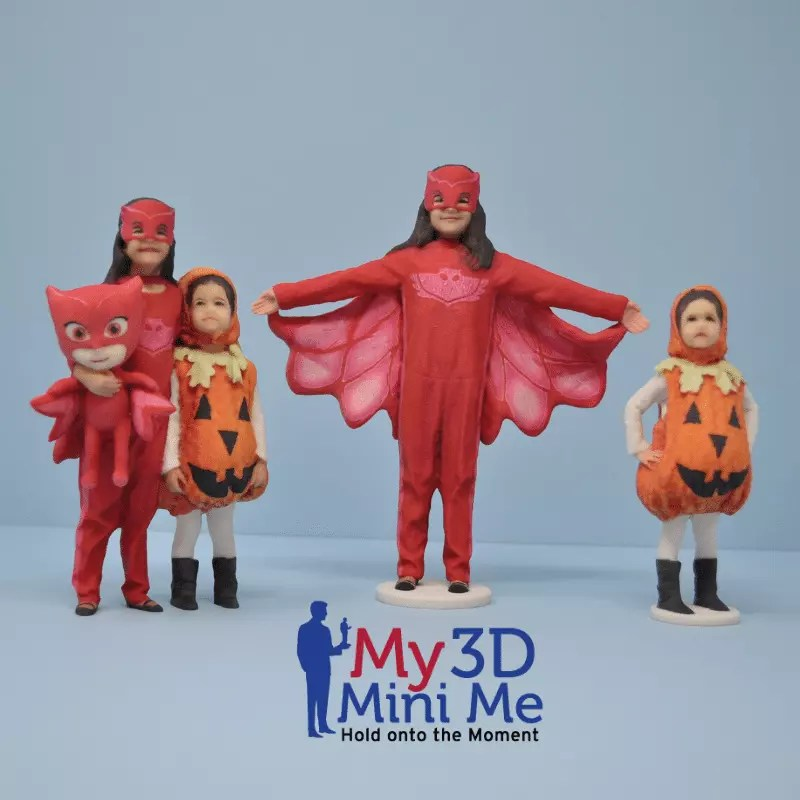 statues of little girls in costume made by My 3D Mini Me