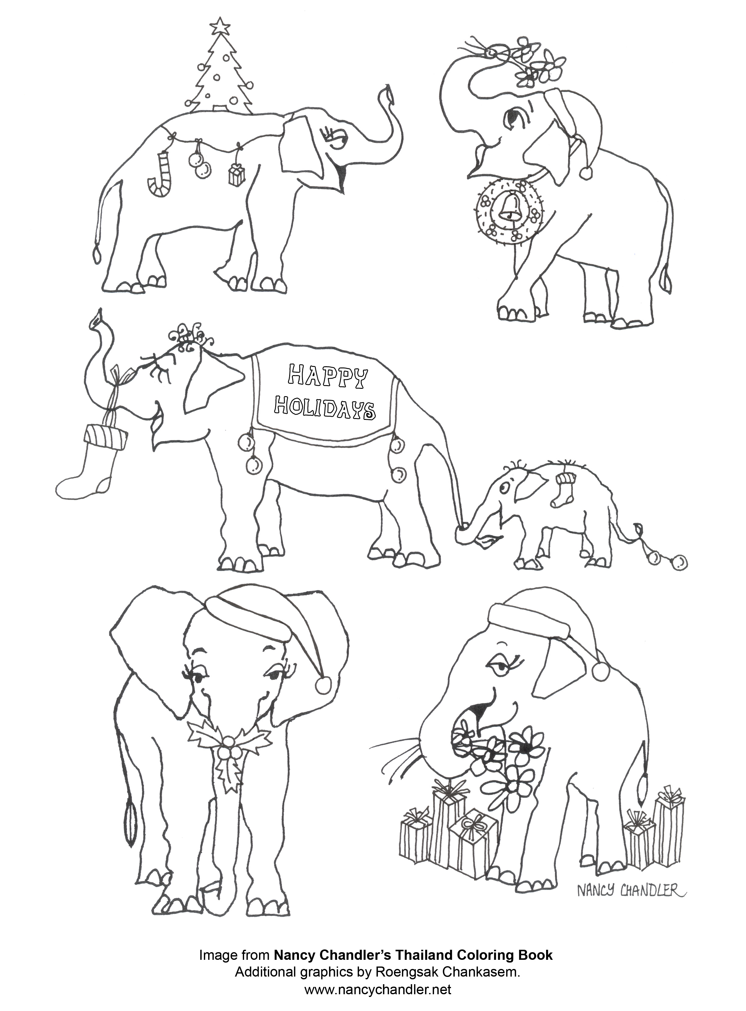 Nancy's Christmas Elephants Coloring Page