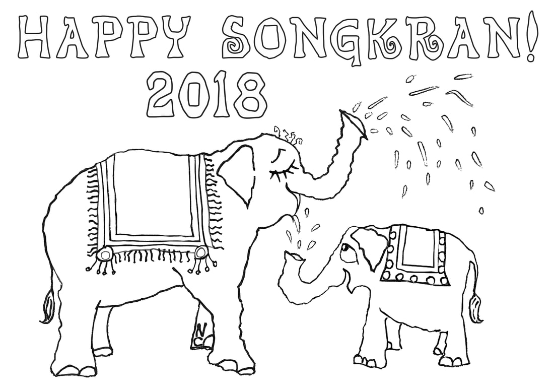Free Songkran Coloring Pages by Nancy Chandler