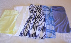 same with the bottoms: shorts, white jeans, 2 casual skirts, 1 athletic skort