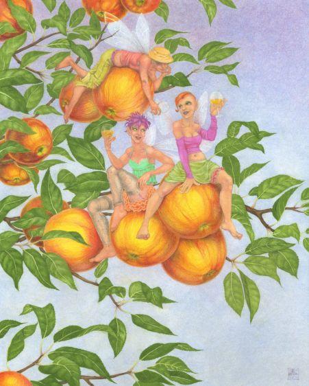 Cider Apple Fairies, in gouache and coloured pencil, by Nancy Farmer, 2016