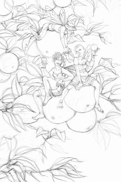 Finished Sketch for Cider Apple Fairies