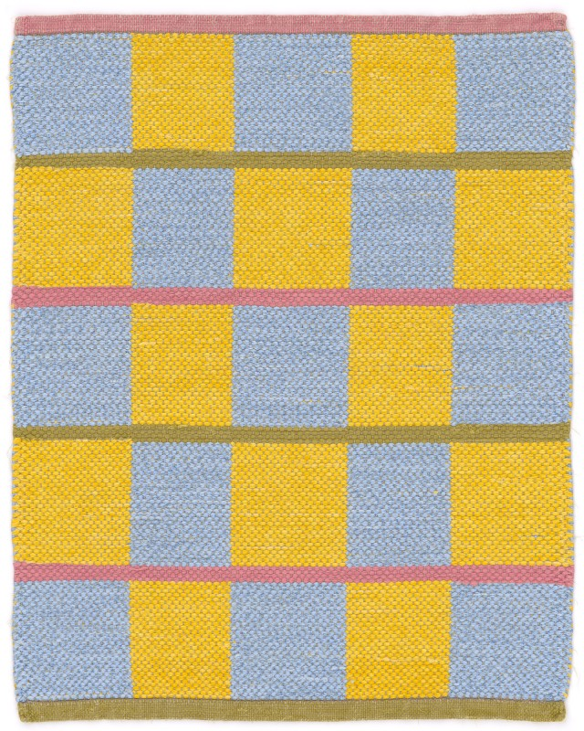 Rag Tiles - handwoven rug with cotton fabric strips on linen warp by Nancy Kennedy