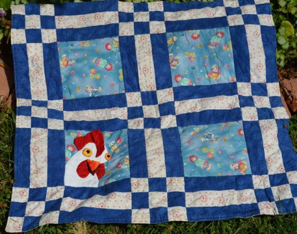 Contest To Win This Quilt With A Chicken On IT.  Based On The Book Chickens In Birthday Suits.