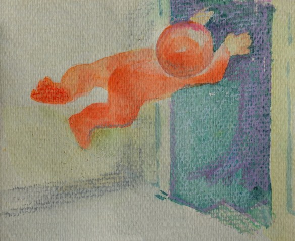 A boy in a red suit flying out a door.