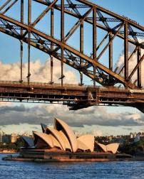 Exictement levels as we approach Sydney Harbour Bridge are through the roof.