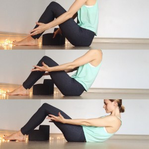 Start seated with knees bent. On an exhale begin to roll onto the spine one vertebrae at a time. Landing on your back for a full body stretch.