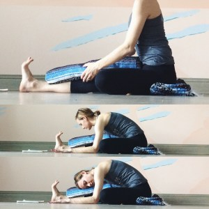 Extend the right leg out in front of you and the left foot to the right inner thigh. You can sit onto a blanket here (as we did in butterfly) and/or bring a blanket on top of the right thigh to rest onto. Fold forward until you find sensation, then pause and breathe.