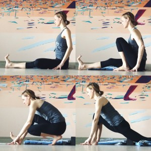 Rise up slowly. Draw the left knee up and in. Begin to walk forward into a lunge in the right leg, bringing both hands to the inside of the right foot.