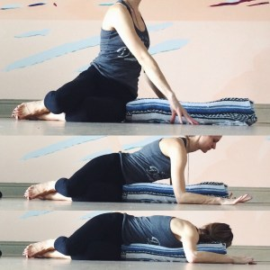 Come out of the twist but continue to face the left side. Stack the knees and square the chest off to one or two blankets placed out in front of you. Let an exhale guide you forward. Gaze can be to the right/left.