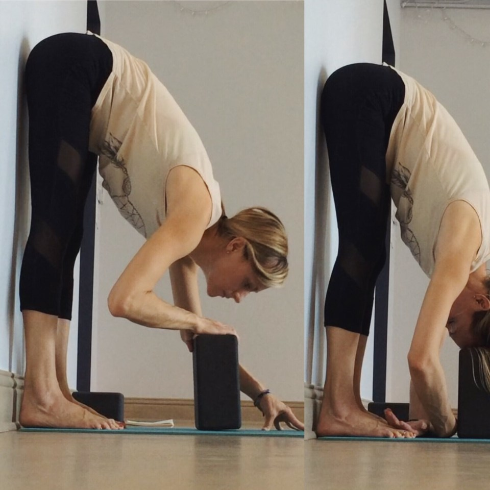 Yin Yoga at the Wall - Forward fold hips at wall