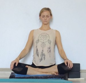 Yin Yoga at the Wall - Sukhasana