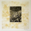 Peng, Standing in Moonlight, Linocut Chine Colle, 16x16, paper on wood panel, $350