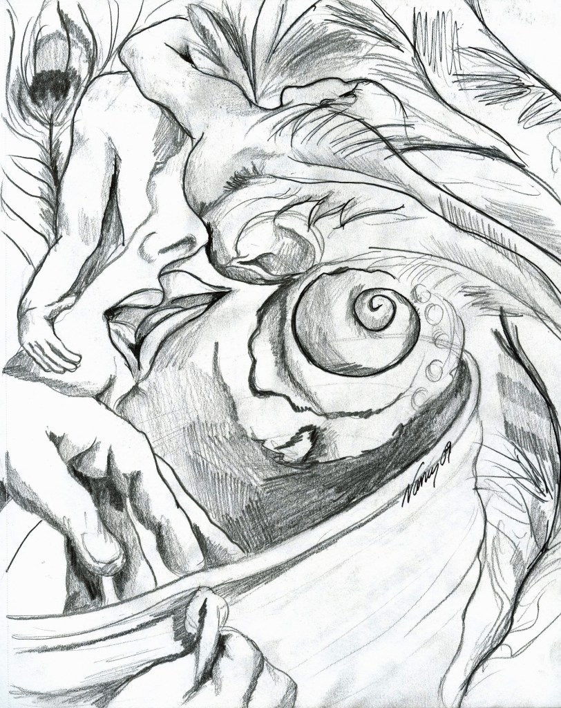 Pencil and little pen on paper, 2009