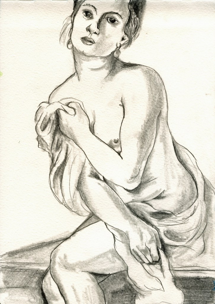 "Graphite on Paper, drawn from Artemesia Gentileschi, 8.25""x11.5"", 2012"