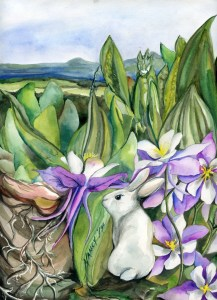 A rabbit sits in front of a thicket of various plants including cacti and columbine flowers. She has her back turned to us as she gazes over her left shoulder. A lareg praying mantis is hiding at the top of the thicket above and to the right of the bunny. On the horizon is the Blue Ridge, a chain of mountains that creates the Shenandoah Valley in Virginia.