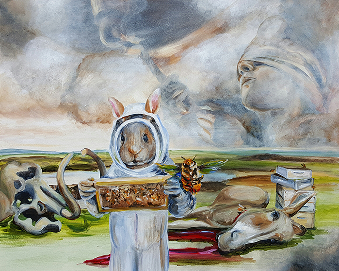 A bunny in a bee-keeper's outfit is looking at a panel from her hives.