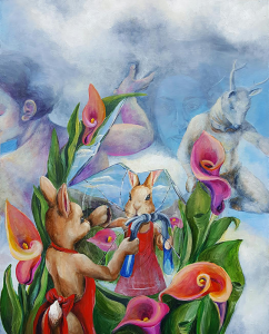 Bunny Cracks a Mirror with a hammer while looking at herself through divine creatures who part the clouds for her.
