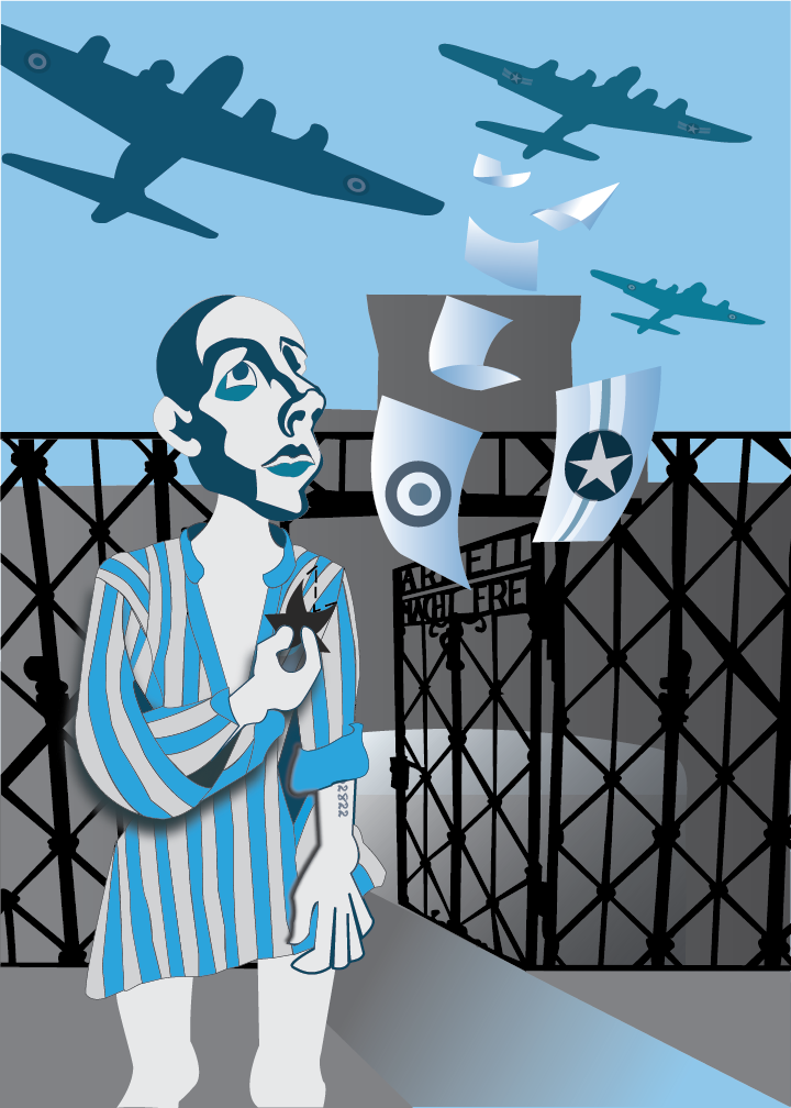 A Jewish Prisoner outside the gates of Dachau looks up to the sky as British and America planes fly overhead dropping notes of encouragement.