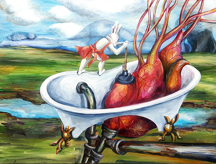 Bunny plunges an oversized heart in an open bottomed bathtub with large pipes that lead out of the canvas. The mountains are a reclined woman.